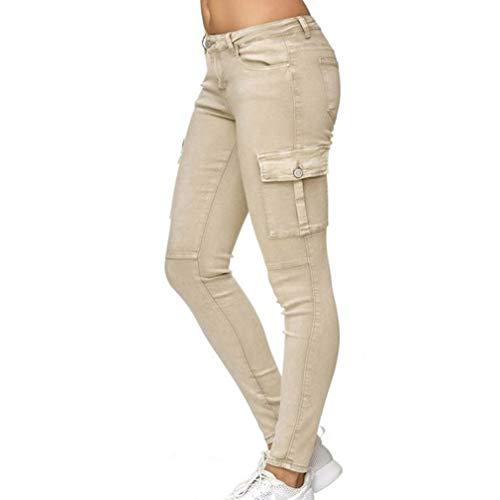 Femme de Rétro Jeans avec Poche Latérale Cargo Skinny Pantalons Printemps Casual Denim Pantalons