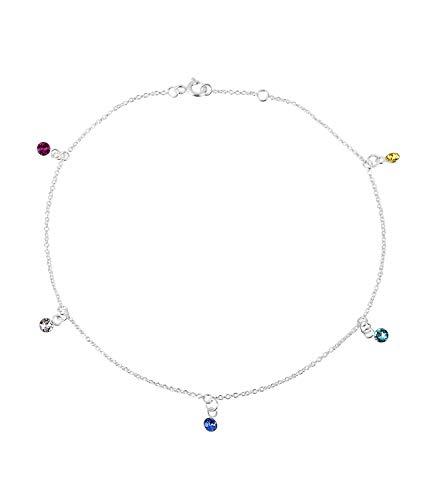 SIX Damen Fußkette, Fußkettchen, Gliederkette, 925er Silver, Sterling Silver, Strassstein, Silber, Multi (180-090)