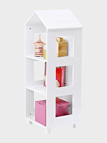 Nordic Style Home Kreative Kleine Haus Boden Bücherregal Massivholz Regale Kinderzimmer Dekoration 120 * 47 * 40 cm, Weiß (Bücherregal Cube Speicher)