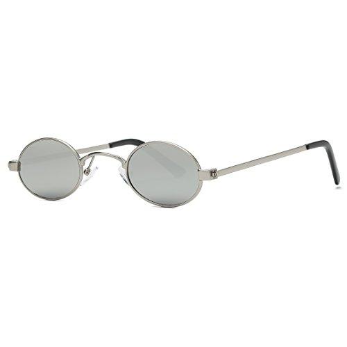 kimorn Sonnenbrille Kleine Runde Metallrahmen Oval Bonbonfarben Unisex Gläser K0577 (Silber)