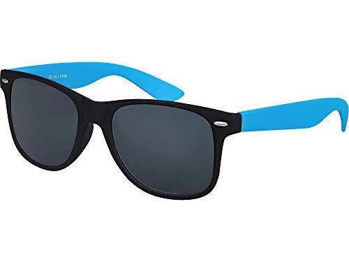 Balinco Hochwertige Nerd Sonnenbrille Rubber im Wayfarer Stil Retro Vintage Unisex Brille mit Federscharnier - 96 verschiedene Farben/Modelle wählbar (Hellblau/Schwarz - Smoke)