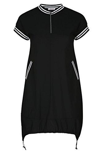 PAPRIKA Damen Große Größen Tunika-Kleid im Sportswear Style Schwarz 2 (46)