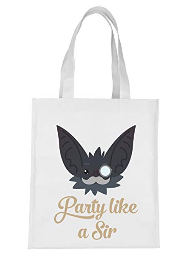 (clothinx Einkaufstasche Halloween Grusel Fledermaus Party Like A Sir Weiß)