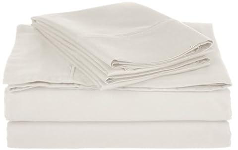Superior - Ensemble de draps, doux, résistant aux froissements, à coins profonds, 800 fils par pouce carré, coton mélangé, blanc uni