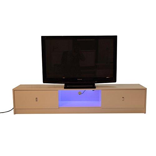 Homcom mobile porta tv di design in legno mdf e1 con striscia led 180 x 40 x 35cm bianco lucido