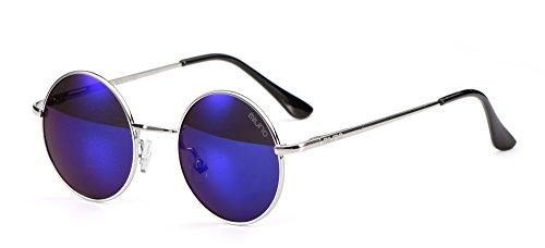 Miuno Sonnenbrille mit runden Gläsern UV400 Herren Damen mit Etui Nickelbrille Federscharnier 8088 (Gestell:silber/Glässer:blauverspiegelt)