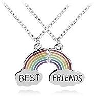 Rainbow Clouds Best Buds Matching BFF Best Friends Necklace Set.