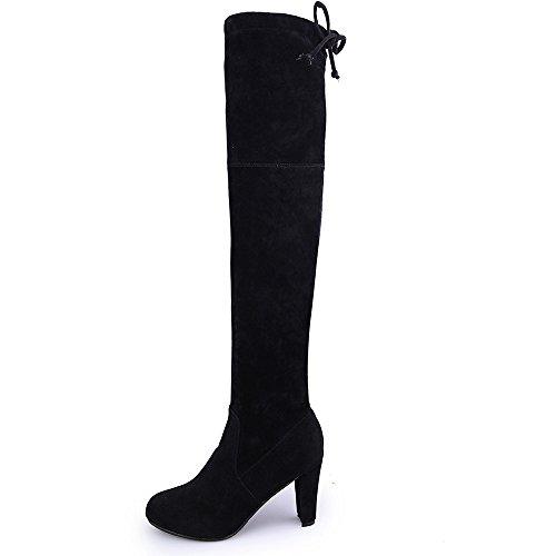 Stiefel Damen, LANSKIRT Stretch Faux Slim High Boots Overknee Stiefel High Heels Schuhe Stiefeletten Halbschaft Stiefel Plateau Blockabsatz Knöchelhohe Stiefel Boot Sandalen Sneakers Schuhe (Pelz-knie-boot)