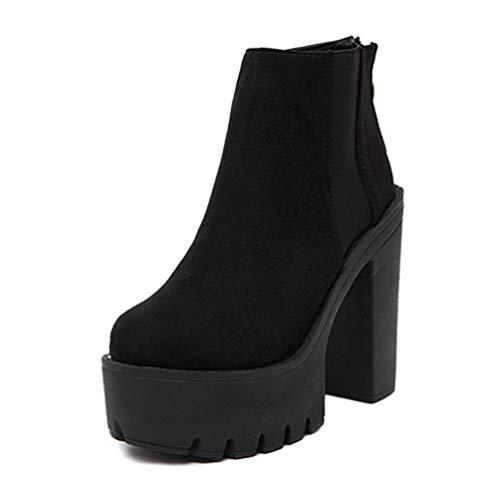 elStiefel für Frauen Dicke Fersen Flock Plattform Schuhe High Heels ReißVerschluss DamenStiefel ()