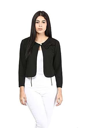 Mayra Women's Party Wear Viscose Jacket (XM1602T14290_S, Black)