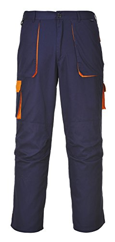 TX11NOTXL Portwest Texo Kontrast-Hose, zweifarbig, Groß, Größe:XL; Marineblau/Orange. -