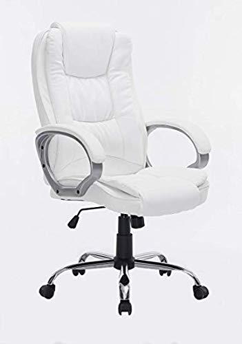 HOGAR24 ES Silla sillón de Oficina Estudio Alta Gama tapizado en Piel sintética, Color Blanco.
