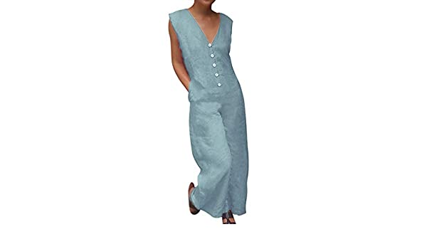 Transser Womens Plain V-neck Sleeveless Pantsuit Summer Casual Loose Baggy Overalls Long Jumpsuit Rompers with Pocket Big And Tall Plus Size S-5XL