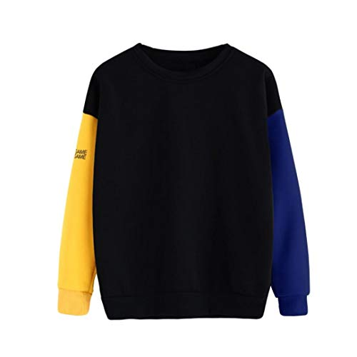 Zarupeng Damen Pullover Langarm Bluse mit Rundhalsausschnitt Lose Sweatshirt Patchwork Oberteile Baggy Jumper T-Shirt