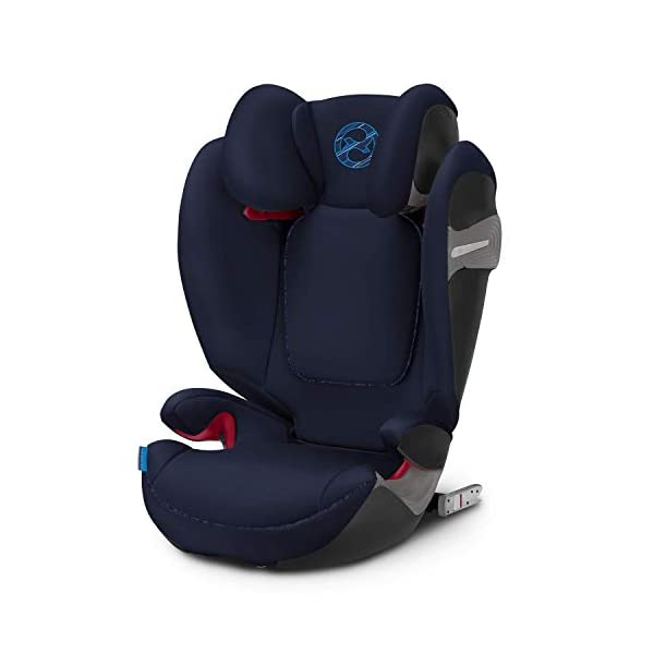 CYBEX Gold Solution S-Fix Child's Car Seat, For Cars with and without ISOFIX, Group 2/3 (15-36 kg), From approx. 3 to approx. 12 years, Indigo Blue Cybex Sturdy and high-quality child car seat with long service life - For children aged approx. 3 to approx. 12 years (15-36 kg), Suitable for cars with and without ISOFIX Maximum safety - Built-in side impact protection (L.S.P. System), 3-way adjustable headrest, Energy-absorbing shell 12-way adjustable, comfortable headrest, Adjustable backrest, Extra wide and deep seat cushion, Ventilation system 1