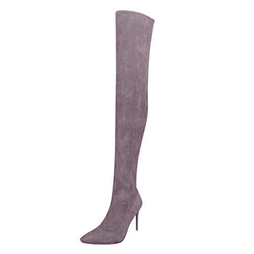 LSAltd Damenmode Klassiker Vintage Reine Farbe Reißverschluss Spitz Flock High Boots Lässige Prom Party Over-The-Knee High Heel Schuhe