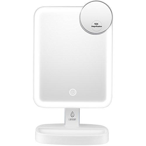 LAVANY Schminkspiegel Kosmetikspiegel mit LED Licht 180° Drehbarer Standspiegel Tisch Make-Up Spiegel mit Beleuchtung, mit Einem zusätzlichen kleinen 10 Fach Vergrößerungsspiegel -
