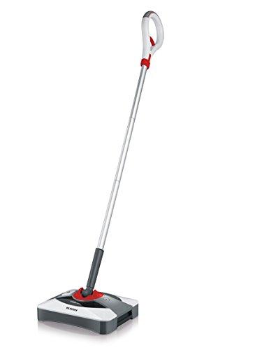 Severin SQ 7200 Floorcare Bürstkehrer, Lithium Sweeper, Laufzeit ca. 60 min, Inhalt ca. 400 ml, schneeweiß / granatrot / silber