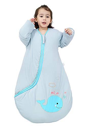 Chilsuessy Baby Schlafsack Winter Schlafanzug mit abnembar Langarm Babyschlafsack Kinder Ganzjahres Schlafsäcke für Jungen Mädchen extra weich, Gruen/2.5 Tog, L/Koerpergroesse 90-110cm
