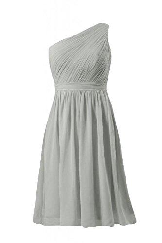 daisyformals courtes vintage robe de demoiselle d'honneur parti une épaule robe (bm10822s) Gris - #55-Gray