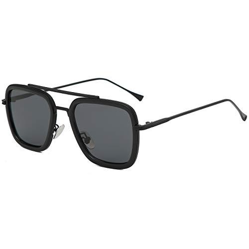 Retro Sunglasses Tony Stark Glasses Square Eyewear Metal Frame for Men Women Iron Man Sunglasses