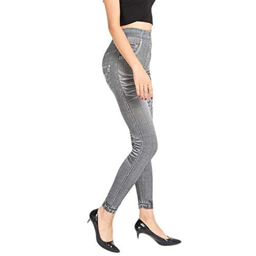 KIMODO® Damen Nahtlose Denim Leggings Jeanshose Stretchy Skinny Freizeit Nachahmung Loch Jeans Hose