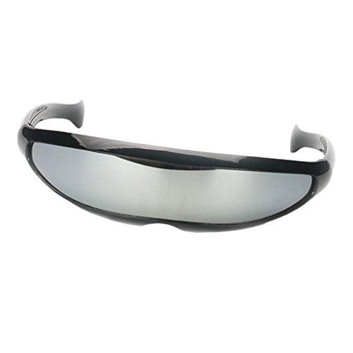 Baoblaze Herren Damen Funky Sonnenbrille Futuristische Sonnenbrillen Partybrille Funbrille Spaßbrille - Schwarz Silber