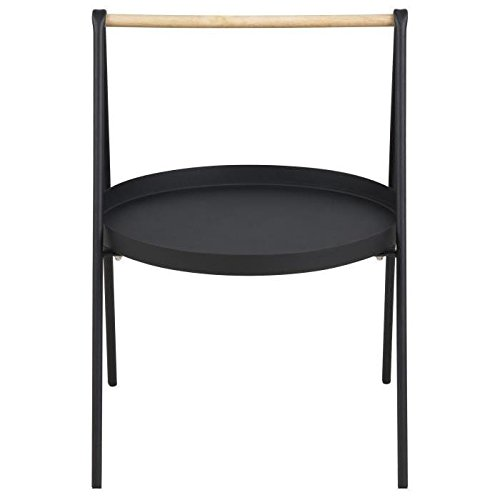 SLOP Table basse ronde style contemporain en métal laqué noir + poignée en bois hévéa - L 40 x l 40 cm