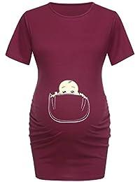 df67595a42f0 SEWORLD Vestido de Maternidad de impresión de Dibujos Animados de Manga  Corta para Mujer Embarazada