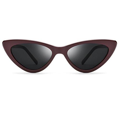 Honneury Frauen Retro Vintage kleinen Rahmen Sonnenbrille dreieckige Brille Retro Cat Eye Sonnenbrille (Farbe : Red Frame/Gray Lens)