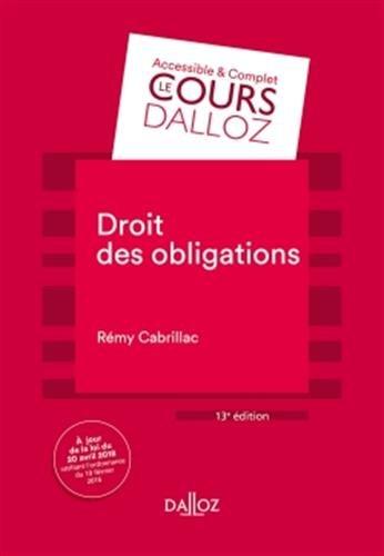 Droit des obligations - 13e éd. par Rémy Cabrillac