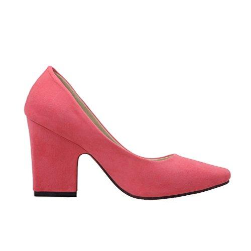 ENMAYER Femmes Nubuck Sexy Square Toe Bloc High Heel Confort Bureau de Travail Pompes Court Shoes Rose