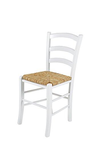 Holzstuhl 2er set Buche massiv in Weiß lackiert Esszimmerstühle Küchenstuhl Essstuhl Designer...