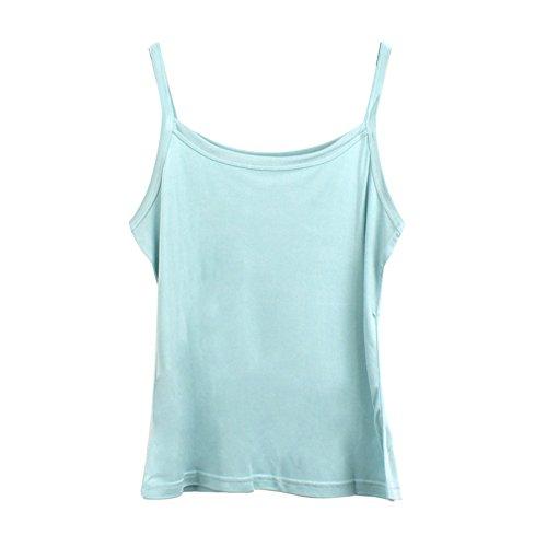 Forever Angel Damen Unterhemd Stricktops Shirt 100% Reine Seide Hellblau Gr??e L -