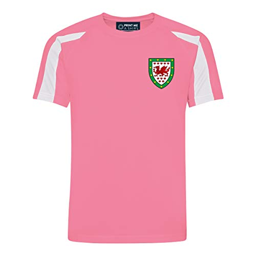 Kids Customisable Girls Wales Style Football Shirt Home  Electric Pink and White  7-8 yrs 30