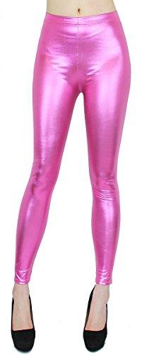 Metallic Glanz Leggings Damen bunt Regenbogen Farben Wet Look Leggins Shiny One Size - JL057 (JL057-Rosa | Gr. 34-36)