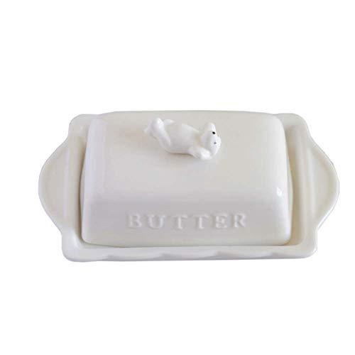 Creative Design Beurre Porcelaine Plat garde Beurre décoratif avec couvercle animal couverture, A
