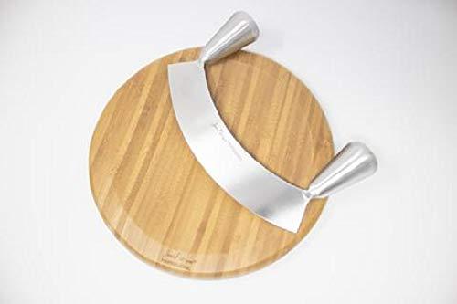 Jean-Patrique Grande Acero Inoxidable Doble Mango Mezzaluna y Tablero 26cm Half Moon Knife