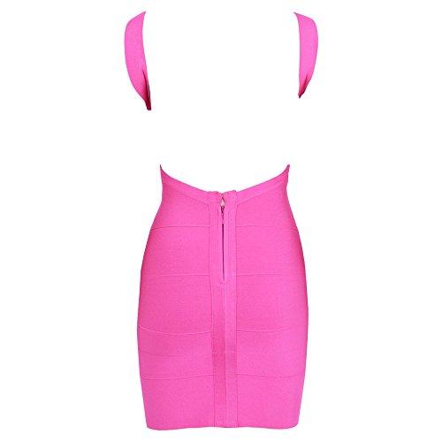 HLBandage Women's Sexy Spaghetti Strap Backless Bodycon Bandage Dress Rose Vif