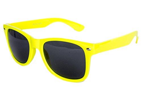 Nerdbrille Sonnenbrille Stil Brille Pilotenbrille Vintage Look Neon Gelb
