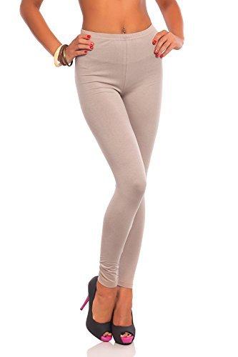 futuro fashion bodenlang Baumwolle Leggings alle Farben alle Größen Active Hose Sport Hosen - Beige, 48-50 (XXXL)
