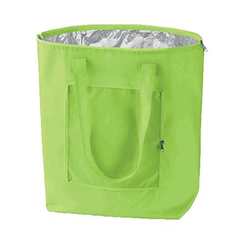 Notrash2003 - borsa per la spesa pieghevole con custodia, leggera e stabile, con rivestimento interno in alluminio, funzione raffreddamento in 6 colori, verde chiaro, 41 cm x 44 cm x 14 cm