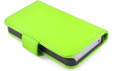 iPhone 4 / 4s Lederhülle | JAMMYLIZARD Ledertasche [ Wallet Series ] Leder Hülle Flip Case Cover Schutzhülle mit Kartenfach, Lila GRÜN