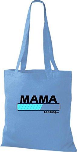 Jute Stoffbeutel Mama Loading viele Farben hellblau