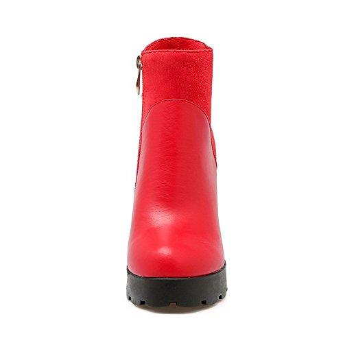 AllhqFashion Damen Hoher Absatz Weiches Material Niedrig-Spitze Eingelegt Stiefel Rot