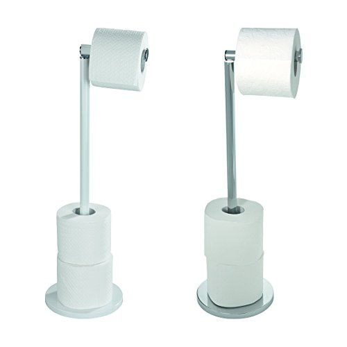 Wenko 19637100 Freestanding toilet roll holder 2 in 1, Metal  Stainless steel, 25.5 x 54 x 18 cm, Shiny
