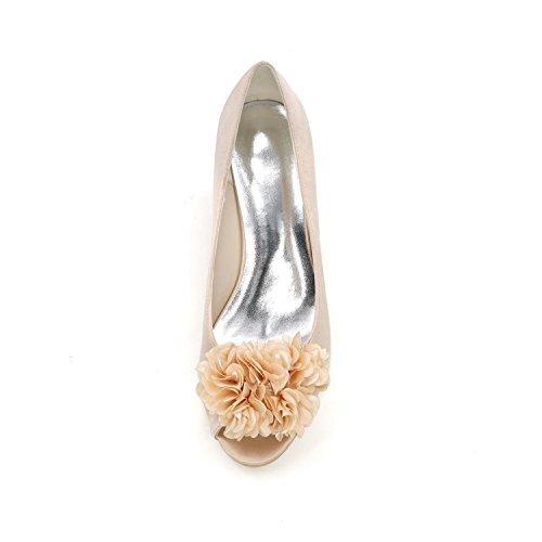 L@YC Femmes Talons hauts Printemps été automne Pente avec orteil ouvert Mariage en velours rouge white