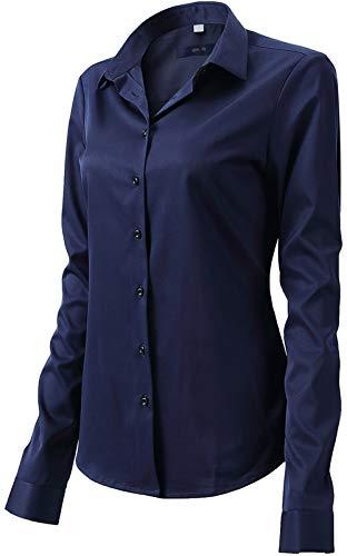Damen Bluse aus Bambusfaser Elastisch Slim Fit Hemd für Freizeit Business Figurbetonte Hemdbluse Langarm Elegant Shirt Bügelfrei Navy Blau 52