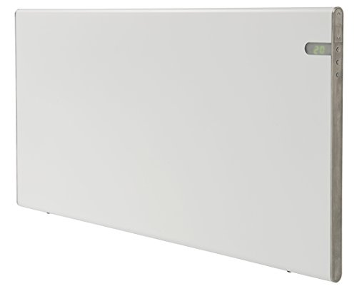 Radiador eléctrico blanco moderno Energía eficiente 800W Clase II Aislamiento reforzado IP24 para baños soporte pared y de suelo intergrado dos en uno pantalla programacion de temperatura dia y noche