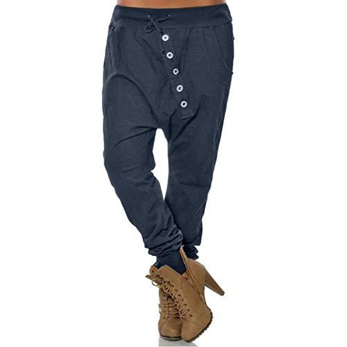beautyjourney Pantalones de harén holgados de mujer Pantalones Bloom Pantalones casuales de Hip Hop Pantalones harem de gran tamaño en color liso Pantalones deportivos de moda